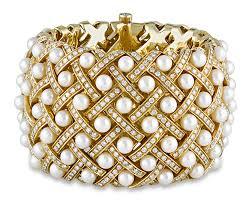 bracelet diamond pearl images Estate jewelry bracelets matelass e style pearl diamond cuff png