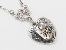 steampunk pendant necklace images Steampunk jewelry steampunk necklace silver watch movement silver jpg