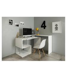 bureaux blanc laqué 160 bureau zig bureau angle 140 130x60x88 cm blanc laqué deco