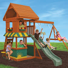 exterior wooden swing set kids outdoor activity center fun