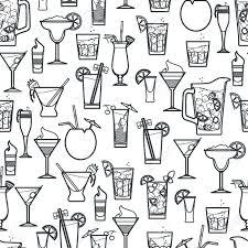margarita outline vector illustration of cocktail seamless pattern outline for