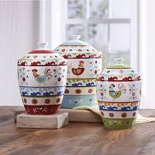 rooster kitchen canister sets set of 3 suzani rooster canisters from country door 720322