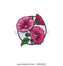stylized fish flower tattoo design cartoon stock illustration