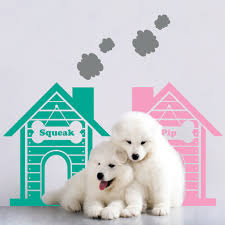 personalised twin dog house wall stickers kids houzz personalised twin dog house wall stickers