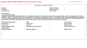 data entry clerk employment contract