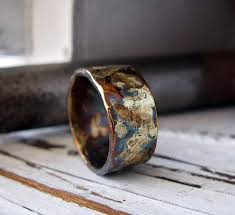 rustic mens wedding bands rustic mens wedding band oxidized sterling silver and yellow gold