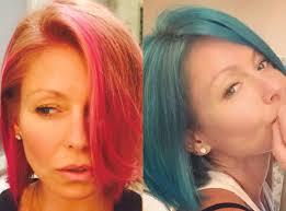 kelly ripa hair kelly ripa ditches pink hair for bright blue locks take a look at