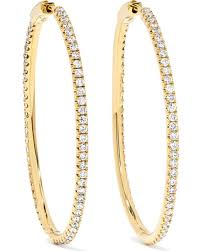 gold diamond hoop earrings amazing deal ko fonda 18 karat gold diamond hoop earrings