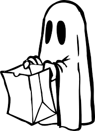 clipart ghost with bag black and white