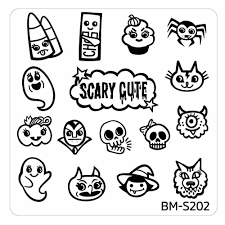 halloween line art halloween square nail art stamping plates bm s202 scary cute