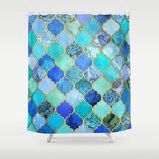 Moroccan Print Curtains Cobalt Blue Aqua U0026 Gold Decorative Moroccan Tile Pattern Shower