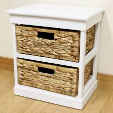 Wicker Storage Chest Of Drawers White 2 Drawer Basket Bedside Cabinet Home Storage Unit Lounge
