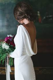 cowl neck low back with sleeve wedding dress inspiration 2749360