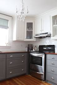 White Cabinets Kitchen Design Lighting Chandelier With Two Tone Kitchen Cabinets And Window