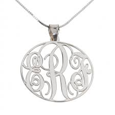 Silver Monogram Necklace Letters Silver Monogram Necklace Round