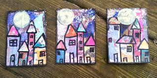atc artist trading cards mixed media home by the moon