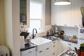 cool small apartment idea with white themed kitchen and rustic