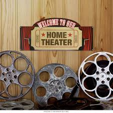 home theater movie ticket stub metal sign welcome signs
