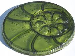 antique deviled egg plate green glass deviled egg plate relish tray indiana glass egg plate