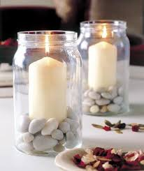jar table decorations table decorating ideas candles glass jars filled pebbles decor