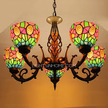 Glass Shade Chandelier Stained Glass Shade 5 Light Antique Style Chandeliers