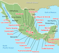 map of mexico resorts map of mexico tourist destinations travel maps and major tourist
