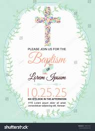 Baptism Card Invitation Baptism Card Design On Green Background Stock Vector 155051594