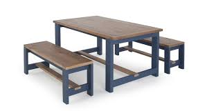 Dining Table And Bench Set Solid Wood And Blue Bala Made Com