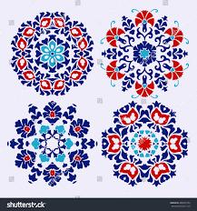set islamic floral circle design traditional stock vector