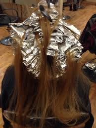 where to place foils in hair full head foil highlight before hair coloring pinterest