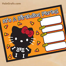 printable halloween hello kitty invitation set