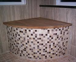 Teak Benches For Bathrooms Bathroom Diy Fixed Concrete Shower Seat With Teak Pad Design