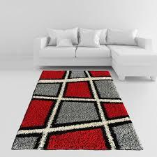 Area Rug 3x5 Soft Shag Area Rug 3x5 Geometric Tile Design Ivory