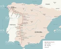 Camino Frances Map by Via De La Plata Map Camino De Santiago Spain Stock Vector Art