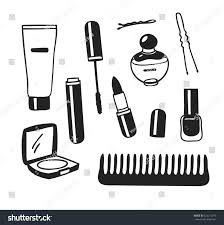hand drawn illustration beauty products creative stock vector
