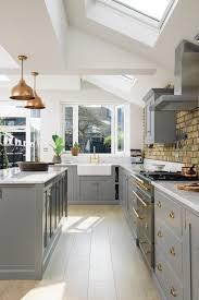 image of high end kitchen designs with teak varnished wooden