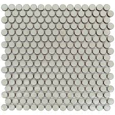 simple rimmed penny round tile  sage with  from missionstonetilecom