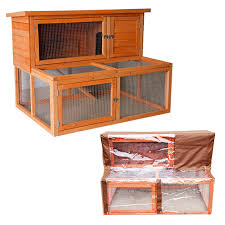 Rabbit Hutch Wood 4ft Large Rabbit Hutch With Run And Cover Guinea Pig Wooden Pet