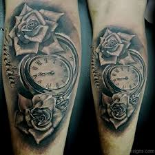 20 superb clock tattoo on leg