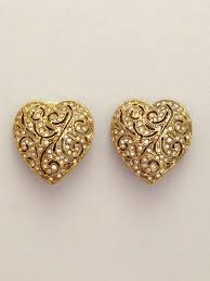 vintage earrings sparkly heart vintage earrings by kirks folly st cyr vintage