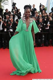 green dress lupita nyong o slays in a plunging green dress at the cannes