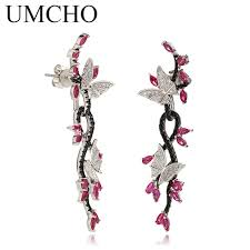ruby drop earrings umcho 925 sterling silver butterfly gemstone black spinel