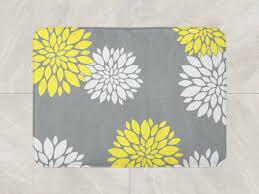 Floral Bathroom Rugs Floral Bath Mat Yellow Grey Bathroom Decor Foam Bath Rug