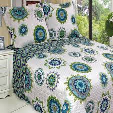 Quilted Coverlets And Shams Amazon Com Quilt Coverlet Set Full Queen Double Size Teal Aqua