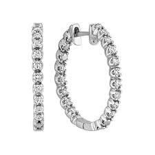 white gold diamond hoop earrings sided diamond hoop earrings in white gold shane co