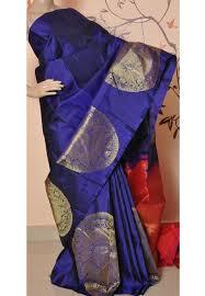 Buy Royal Blue Pure Silk Royal Blue Pure Handloom Kanchipuram Silk Saree For Online