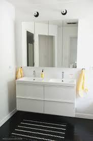 ikea high gloss white master bathroom with ikea godmorgon mirrored