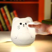 usb cat night light usb rechargeble led colorful silicone cat night lights 2 modes