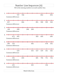 increasing number line sequences with missing numbers max 1000 a