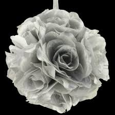 silver roses 6 silver flower pomander small wedding for